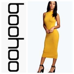 Boohoo Sleeveless Midi Bodycon Dress Mock Neck